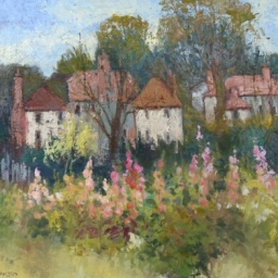 Hollyhocks and Cottages